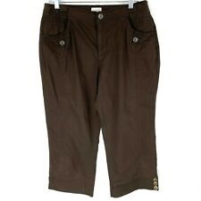 Chicos Womens Size 1 Size 8 Pants Capri Cropped Brown Pockets