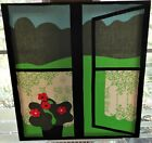 Vtg MCM Modern Pop Art Frame IKKUN Tampella Finland Wall Art Window Flower Scene