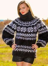 Black hand knitted mohair sweater fuzzy sexy Icelandic Nordic jumper SUPERTANYA