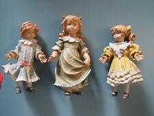 """Set of 3 Vintage Dolfi / Santini Carved Wood Victorian Doll Statue ~ 4"""" - 4 1/4"""""""