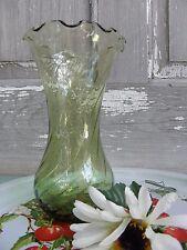 """Vintage Green Ruffle Flower Vase 7"""" Swirl Design Hand Blown"""
