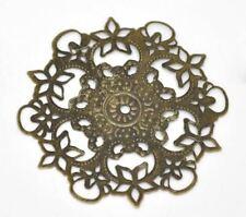30Pcs Antique Bronze Filigree Flower Wraps Connectors Metal Crafts Decoration DI