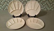 """Set of 4 Vintage Japanese Sushi or Fondue Segmented 9"""" Round White Plates"""