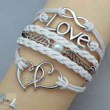 New Fashion Infinity Love Heart Wing Pearl Antique Silver Leather Charm Bracelet
