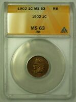 1902 Indian Head Cent 1c ANACS MS-63RB (WW)