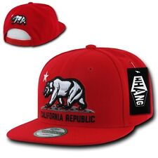 Solid Red California Republic Bear Cali Flat Bill Snapback Snap Back Cap Hat