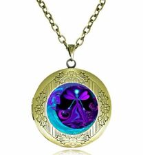 Purple Moon & fairy Photo Cabochon Glass Tibet Silver Locket Pendant Necklace