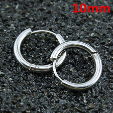 Unisex Stainless Steel Tube Hoop Ear Ring Stud Earrings  Mens Women Jewelry Punk
