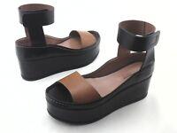 BCBG Max Azria Platform Sandals Wedges Black w Brown Ankle Strap US 9.5/40 $298