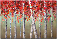 Forest of Birch Trees - Hand Painted Abstract Aspen Tree Oil Painting 24x16""