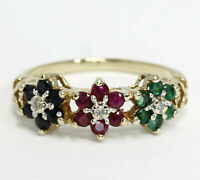 2.36 Ct Diamond Pink Ruby Green Emerald Blue Sapphire Floral Ring 14k Gold Plate