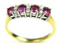 Women's Ladies 18carat 18ct Yellow Gold Ruby & Diamond Ring UK Size O