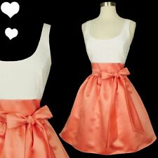 New White Tank Apricot Peach Full Skirt Satin Pinup Prom Cocktail Party Dress S