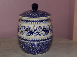 Polish Pottery 3L Coffee/Cookie Canister! UNIKAT Signature Rembrandt in Blue