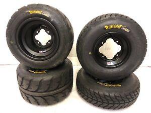 DWT A5 Black Front Rear Rims Wheels Speed Racer Street Tires YFZ Raptor Banshee