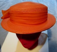 229094c29297 Orange Synthetic Straw large brim women's hat with organza bow 20 ...