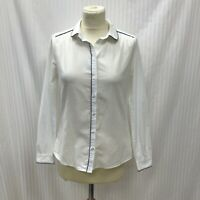 Jack Wills Size 8 Ladies White Cotton Button Shirt Blue Piping Long Sleeve