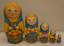 Russian Matryoshka - Wooden Nesting Dolls - 5 Pieces Unique Coloring - Set #2