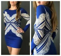 ex TOPSHOP Faux Lace Print Bodycon Occasion Party Dress