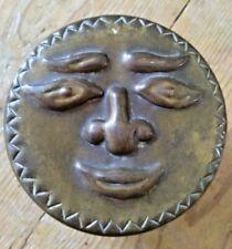 Vintage Sun Face Brass Trinket Pot - Folk Art Box Ornament Arts Craft Home Decor
