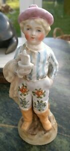 ANTIQUE PORCELAIN CONTA BOEHME BOY WITH MODEL BOAT, HAND PAINTED, PERFECT.