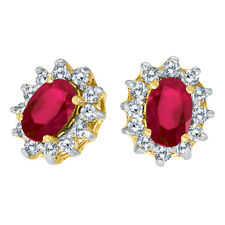 10k Yellow Gold Oval Sapphire and .25 Total Ct Diamond Earrings