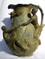 Antique French Art Nouveau Vase with 3 Female Nudes and a Cupid, circa 1900