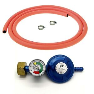 SCREW ON BUTANE GAS BOTTLE REGULATOR WITH GAS LEVEL INDICATOR 2m HOSE AND CLIPS