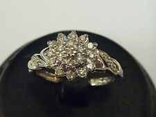 Ladies White 9ct Gold 25pt Fancy Diamond Cluster Ring - Size O