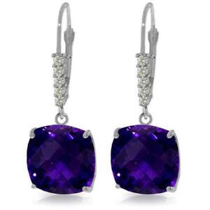 Genuine Amethyst Cushion Cut Gemstones & Diamonds Dangle Earrings 14K Solid Gold
