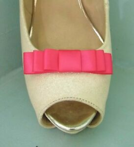 2 Small Cerise Pink Triple Bow Clips for Shoes - other colours on request