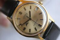 GREAT VERY GOLD-PLATED SWISS CORNAVIN SHOCKPROF WATCH 18 JEWELS WITH DATE!