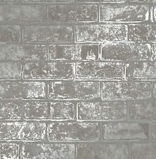 FineDecor Wallpaper - Loft Brick Wall - Metallic Silver Effect - Grey - FD41956