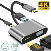 Type-C Hub Adapter To HDMI/VGA/USB/USB-C 4 in 1 4K Audio Converter For Macbook