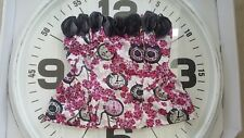 Forever 21 Twist Grey roses fuchsia eve clock  Zip Corset Top Small S Strapless