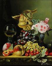 K. Colten herrliches Stillleben-Gemälde: WEIN, FRÜCHTE UND BLÄTTER & BLUMEN