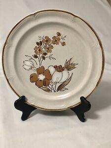"Hearthside Stoneware Dishes Autumn Fair Baroque Japan Plates 10.5"" Brown & White"