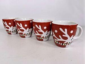 Crate & Barrel REINDEER Cup Mug Red White Green Stripe Scarf & Snow 6 oz