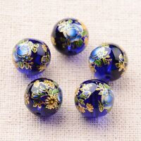 5pcs Flower Painted Glass Round Beads DarkBlue Jewelry Craft Making 12mm