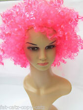 UNISEX FANCY DRESS COSTUME BUGGLEGUM CUTE PINK 70's AFRO SYNTHETIC WIG UK SELLER