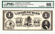 1860'S $1 Citizen Bank Of Louisiana PMG 66 EPQ GEM UNCIRCULATED!