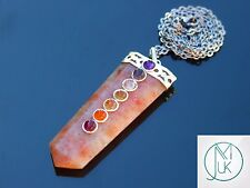 Sunstone 7 Chakra Flat Natural Gemstone Pendant Necklace 50cm Healing Stone