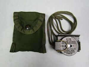 US ARMY STOCKER & YALE INC Magnetic Compass with Lanyard & Case- MARCH 1975