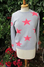 lovely 100% cashmere Scott & Scott  grey +fuscia pink stars JUMPER bnwt M £295
