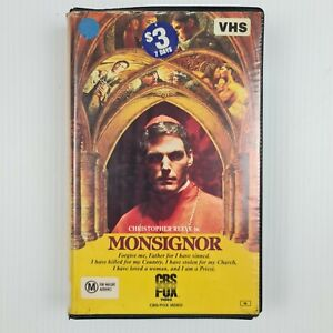 Monsignor VHS Tape - Christopher Reeve - TRACKED POSTAGE