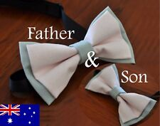 Father Son Match 100% Cotton Handmade Pink and Grey Bow Tie Bowtie Wedding Party