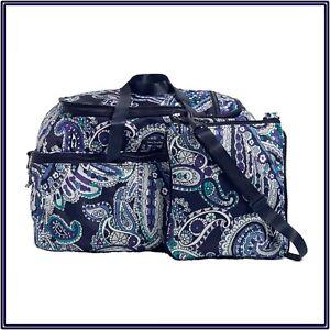 NWT Vera Bradley Lighten Up Convertible Travel Bag in Deep Night Paisley