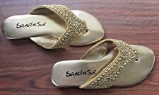 Sandals Slides Thongs Shiny Clean Beaded Vegan Sand-N-Sun Flip Flops Gold US 7