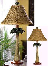 BAHAMA PALM TREE RATTAN ROPE COLUMN LAMP W/ OPEN-WEAVE SHADE ** NIB
