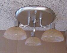 3 Arm Nickel 12 VOLT RV Trailer Creamy Scale Swirl Ceiling Dinette Light Lamp